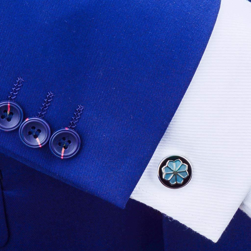 WoLoYo Ronda Azul Gemas Flor Gemelos para los Hombres, Boda Formal de Negocios Gemelos para Camisa francés Brazalete uñas, Caja de Regalo de joyería: Amazon.es: Hogar