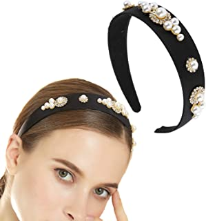 Women Hair Hoop Baroque Retro Black Velvet Vintage Headband for Woman Vintage Simulated Pearl Rhinestone Hair Band Woman P...