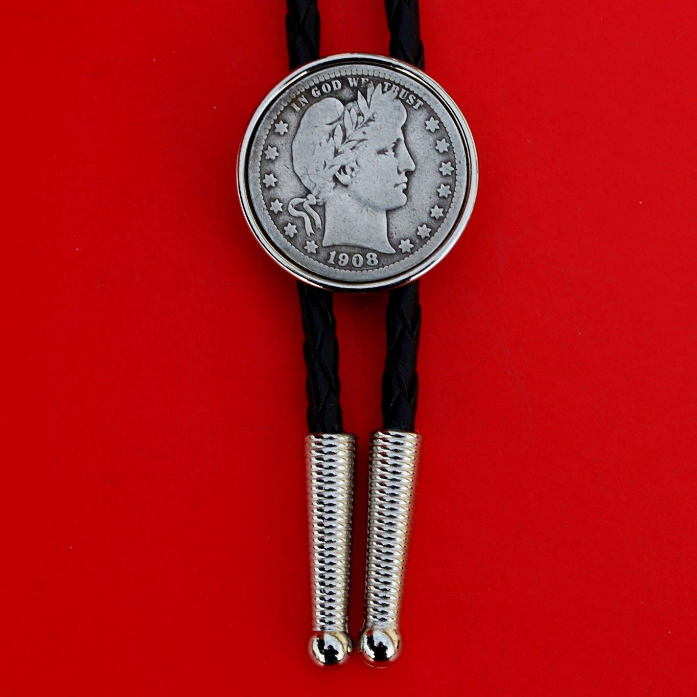 US Limited price 1908 Barber Max 46% OFF Silver Quarter Bolo Simple Slide Cord 36