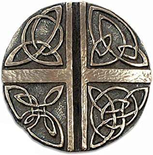 Wild Goose Studio Art Celtic Cross Wall Hanging Love Cross Resin Cast Coated In Bronze 5 Inch Diameter Sturdy Ready To Hang Made in Ireland