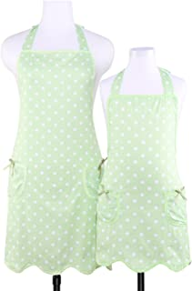 NEOVIVA Bib Aprons with Pockets for Mama and Me, Lightweight Mother and Daughter Apron Set for Cooking, Baking and Gardening, Style Wendy, Polka Dots Green