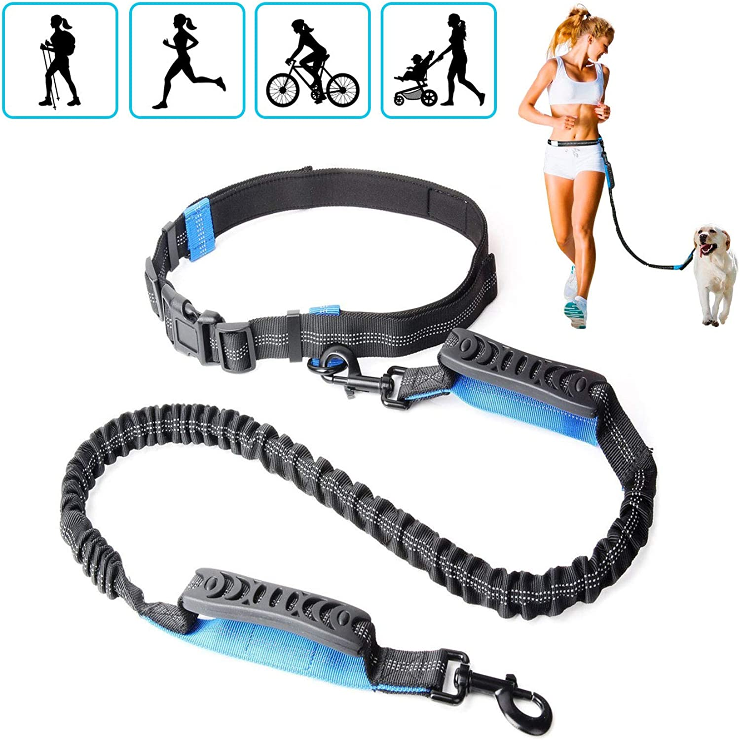 Hands Free Dog Leash   Dual Rubber Handles for Medium & Large Dogs   Adjustable Waist Belt with Comfortable Pad   Shock Absorbing Extendable Bungee & Reflective Stitches for Walking, Jogging, Running