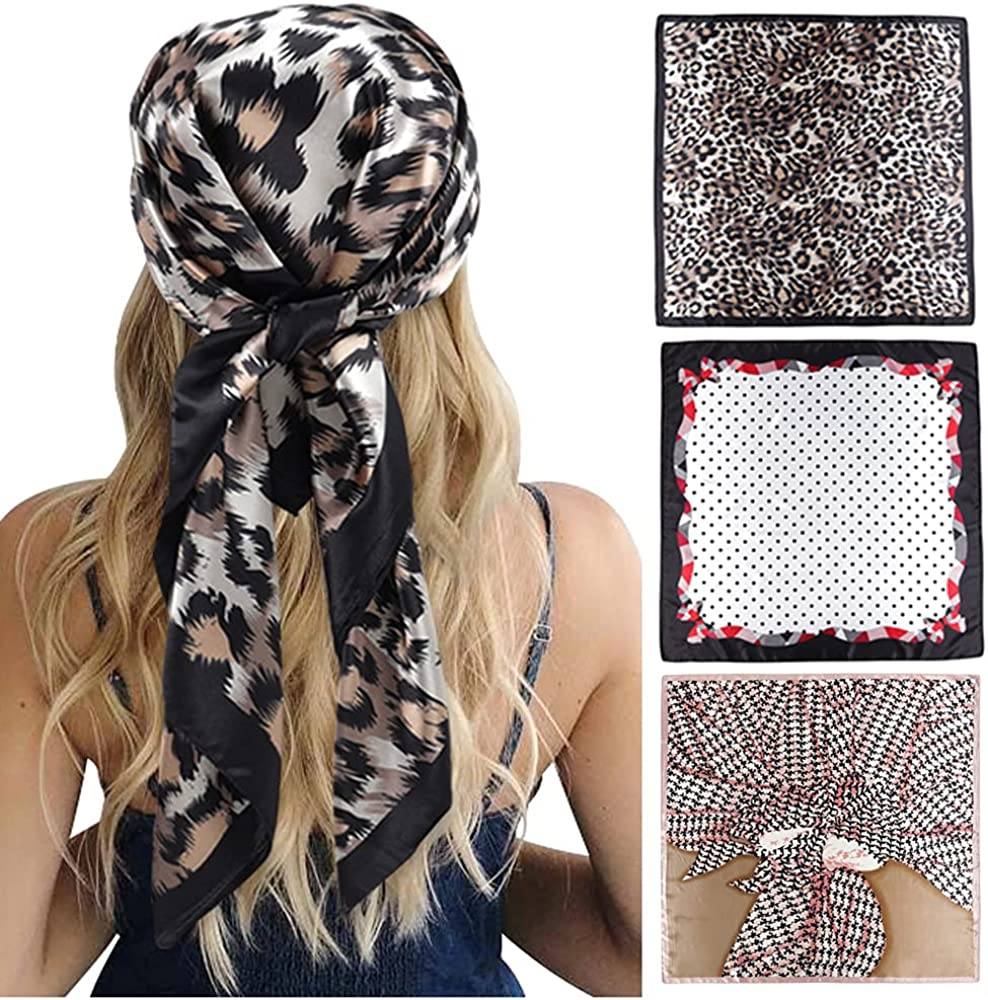 GERINLY 35 Inch Hair Scarf for Sleeping Silk Feel Head Wrap Square Bandana 3 Pack Gorgeous Neck Scarf