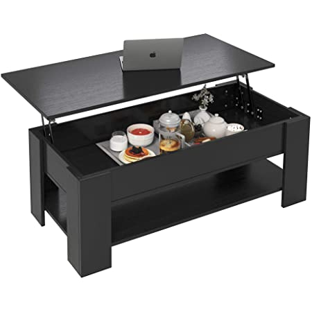 Yusong Lift Top Coffee Table with Hidden Storage Compartment and Open Shelf,Rustic Pop-Up Tabletop for Living Room,Modern Wood Storage Table Accent Furniture,Easy Assembly,Black