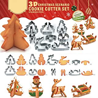 3D Christmas Cookie Cutter Set Stainless Steel Cake Biscuit Cookie Cutter Mold DIY Baking Pastry Tool Bake Your Own Small Gingerbread House Kit
