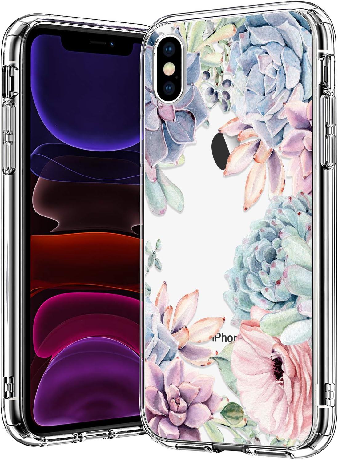 bicol iPhone X Case,iPhone Xs Case,Pink Green Succulents Floral Pattern Clear Design Transparent Plastic Hard Back Case with Soft TPU Bumper Protective Phone Case for Apple iPhone Xs/iPhone Xs