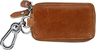 CTM Leather Zip-Around Key Fob Holder with Window