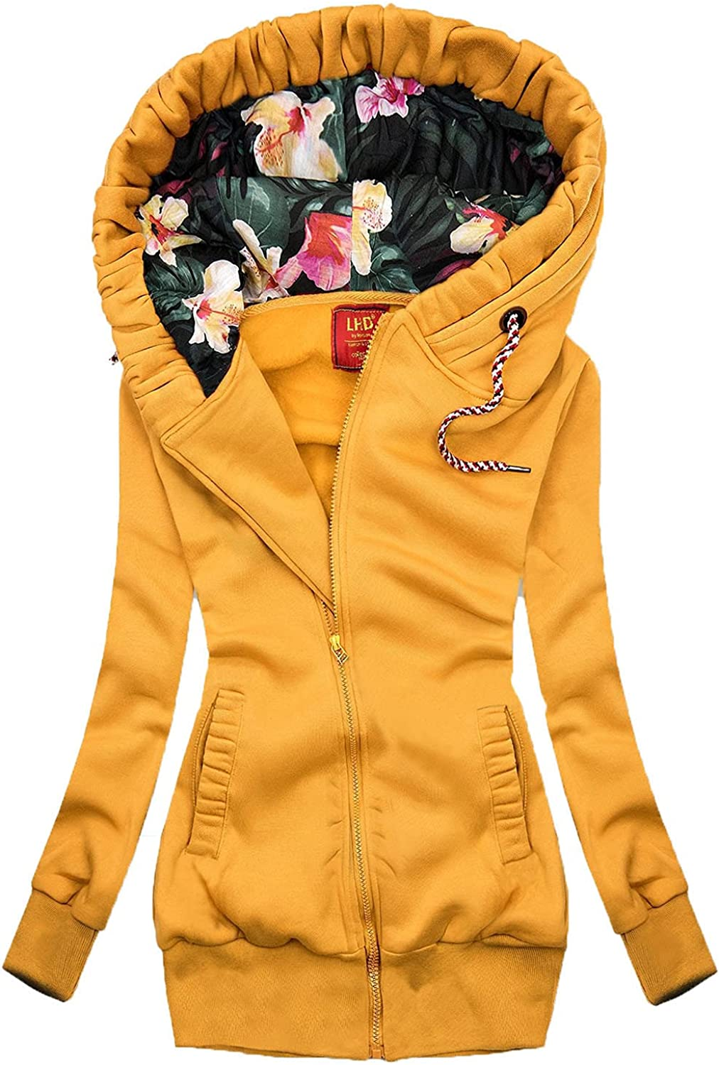 Quilted Jackets for Women,Women's Large Printed Hooded Long-Sleeve Zipper Blouse Autumn Pockets Tops Ladies Slim Long Coats