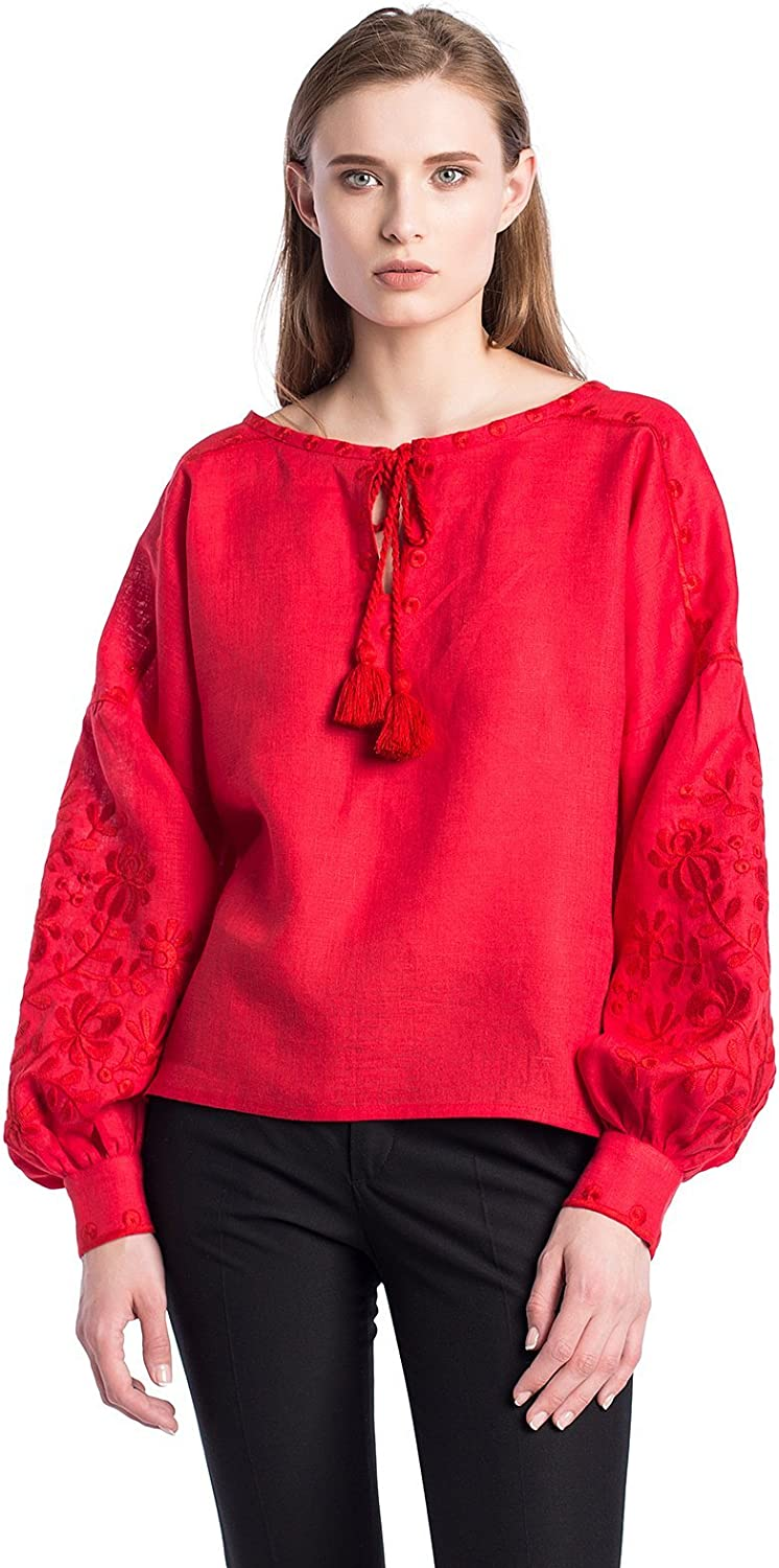 ETNODIM Woman Floral Ukrainian Ethnic Embroidered Linen Black Red Shirt Vyshyvanka Long Sleeve Tops Blouse