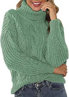 Womens Chunky Turtleneck Sweater Cable Knit Pullover Jumper Tops