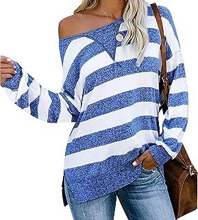 GAGA Women's Casual Side Split Color Block Stripes Long Sleeve Loose Shirt Top