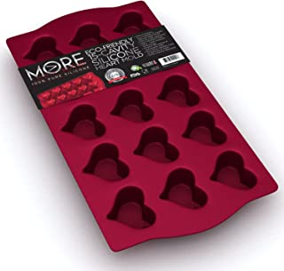 Eco-Friendly 15 - Cavity Silicone Heart Mold - Heart Pan for Making Homemade Chocolate, Candy, Gummy, Jelly, and More - Burgundy Wine by More Cuisine Essentials