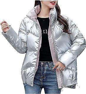 CRMY Chaqueta de Invierno para Mujer Chaqueta Corta con Cuello Alto Chaqueta Acolchada Brillante para Mujer Abrigo de Invi...