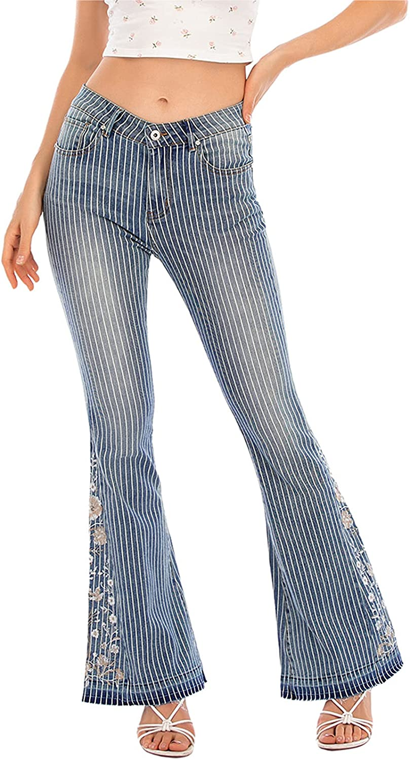 Bell Bottom ☆新作入荷☆新品 Jeans 贈答 for Women Embroidered Jean Floral Wide Flared