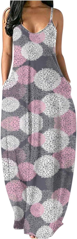 Aniwood Maxi Dress for Women Spaghetti Strap V-neck Sleeveless Loose Deep V Bohemi Print Beach Sundress Party Long Dress