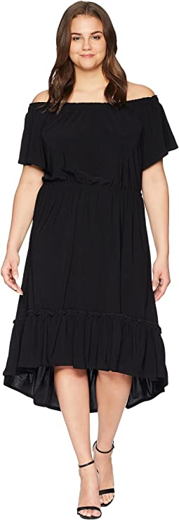 Plus Size Off the Shoulder Ruffle Hem Dress