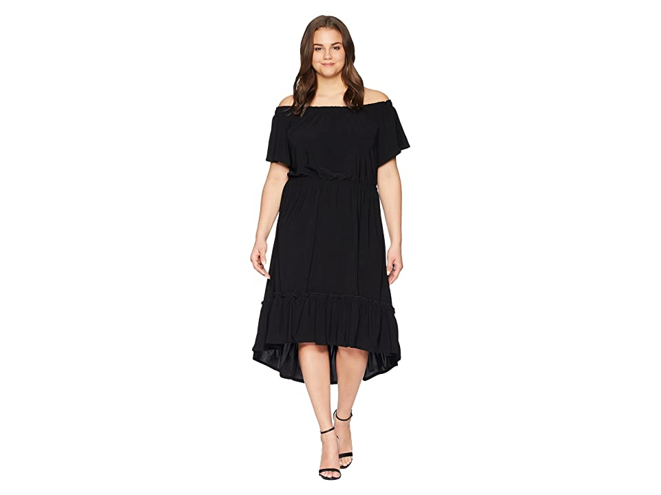 Karen Kane Plus Plus Size Off the Shoulder Ruffle Hem Dress (Black) Women