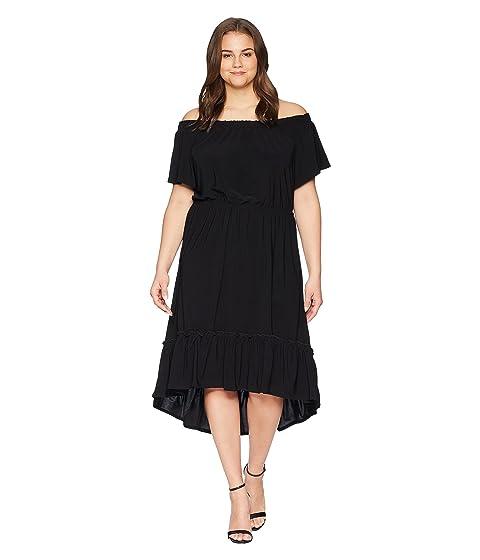 KAREN KANE PLUS Plus Size Off The Shoulder Ruffle Hem Dress, Black