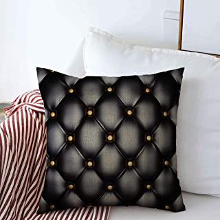 Staromar Pillow Case Pattern Black Leather Upholstery Gold Buttons Vintage Glossy Sofa Luxury Genuine Furniture Design Farmhouse Throw Pillows Covers 20