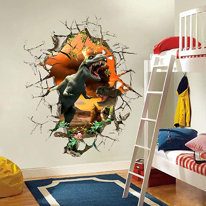 Best Choise Product 3D Dinosaur Wall Stickers Decals For Kids Rooms Art For Baby Nursery Room Home Decoration Kids Cartoon Poster Christmas Gift