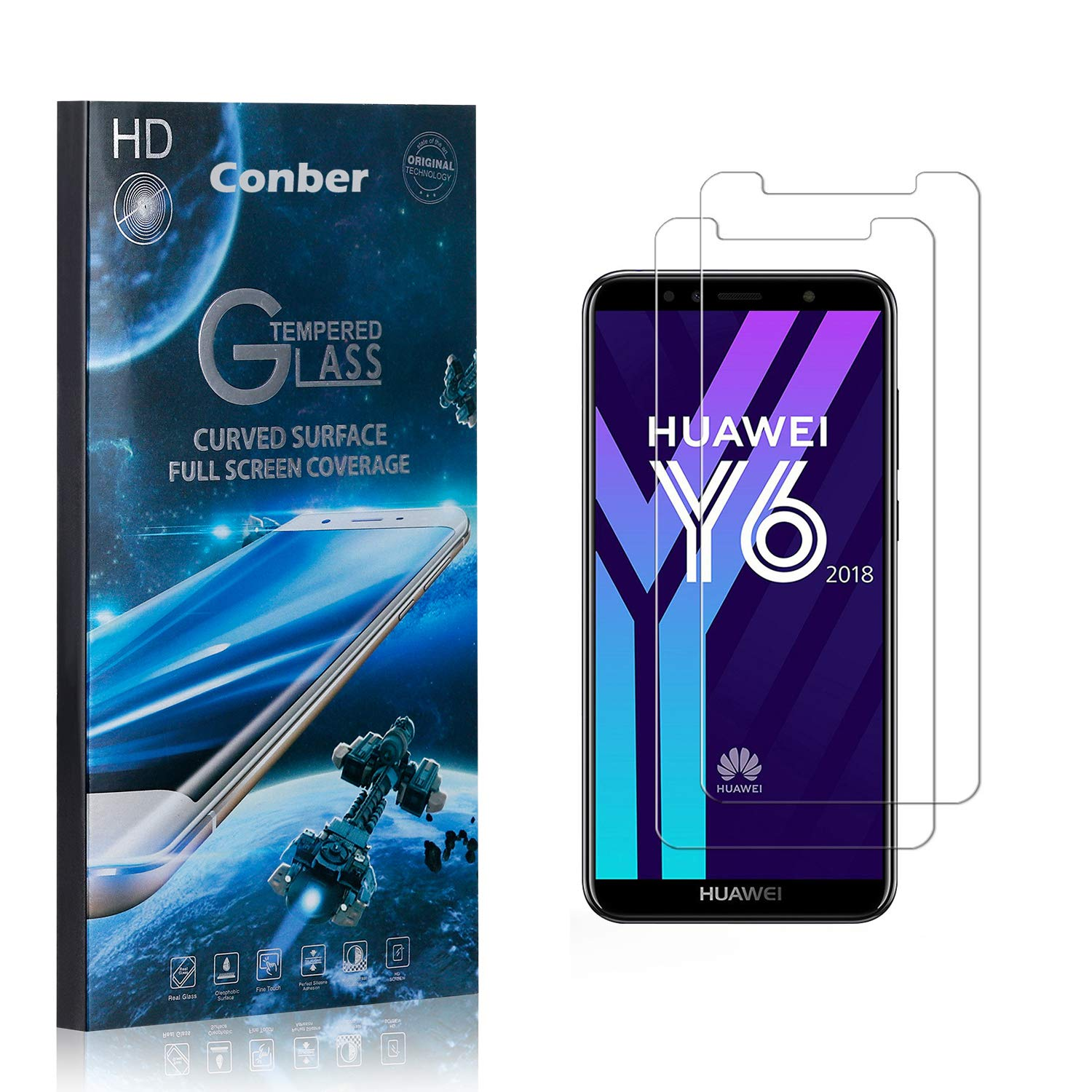 Conber 2 Pack High material Screen Protector for Y6 favorite 2018 Scratch-Re Huawei