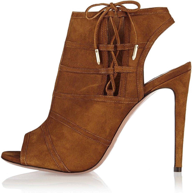AIWEIYi Womens Relia Black Lace Up Stiletto High Heels Dress Tassel Peep Toe Ankle Boots Brown