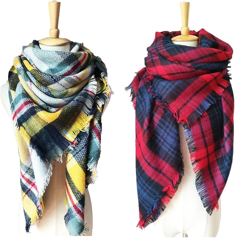 2 Pack of Women Soft Winter Shawl Classic Blanket Tartan Square Tassels Scarf (color 3)