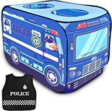 FunLittleToy Plice Toy Car Pop Up Play Tent for Kids with Pliceman Costume, Kids Tent for Indoor & Outdoor