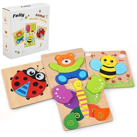 Felly Jouet Bebe - Puzzles en Bois, Jouets Montessori Enfant 1 2 3 4 Ans, Bébés Animaux Jeux Educatif Apprentissage, Puzzle à Encastrements, avec Cadre