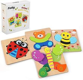 Felly Jouet Bebe - Puzzles en Bois, Jouets Montessori Enfant 1 2 3 4 Ans, Bébés Animaux Jeux Educatif Apprentissage, Puzzl...