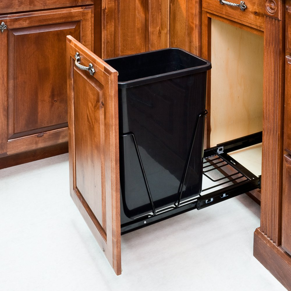 35-Quart - Black-Single Pull-Out Waste Container Inc Price reduction 1Can Omaha Mall System