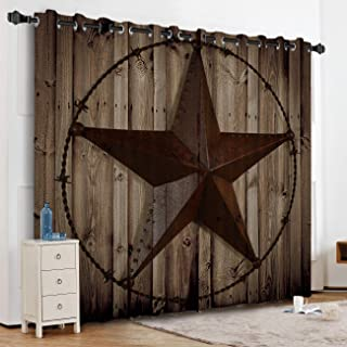 KAROLA Blackout Curtains Window Treatments for Living Room/Bedroom Room Darkening Grommet Drapes and Curtains,Western Texas Star 52