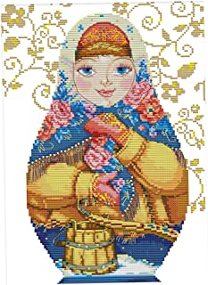 Dimensions Cross Stitch Kit Pre-Printed Russian Dolls Needlepoint for Adults Beginners - 36 x 47cm 11CT