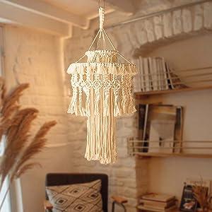 AOMGD Macrame Lamp Shade Boho Hanging Pendant Light Cover,Handmade Woven Bohemian Decoration Chandelier Shade for Modern Office Bedroom Living Room Nursery Dorm Home Decor (NO Lightbulb Included)