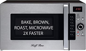 Half Time Convection Microwave Oven, Bake, Brown, Roast in Half the Time, Countertop Stainless Steel/Black. 2 Year Manufacturer's Warranty Included.