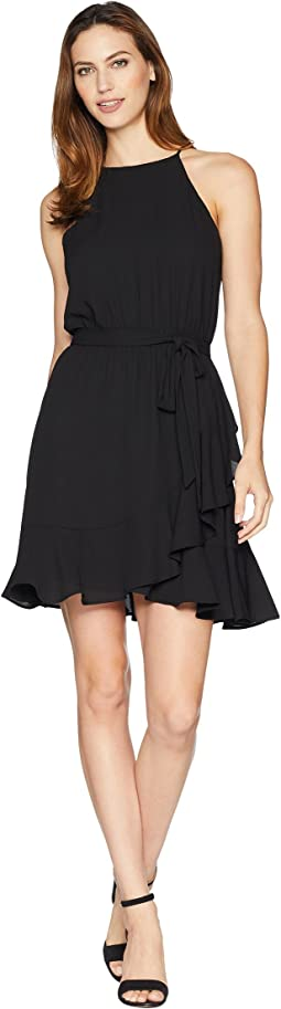 Ruffled Faux Wrap Dress
