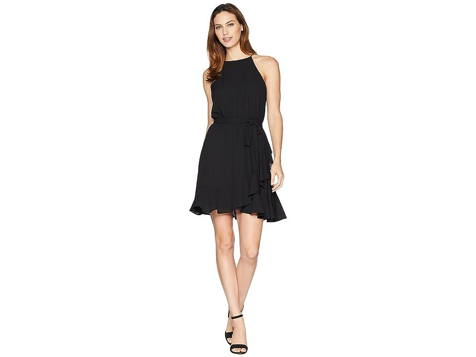 Karen Kane Ruffled Faux Wrap Dress (Black) Women