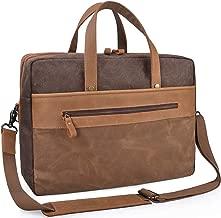 Mens Messenger Bag 15.6 Inch Genuine Leather Laptop Briefcase Waterproof Waxed Canvas Travel Laptop Bag Large Business Office Computer Satchel Shoulder Bag Fits 15 Inch Laptop, Brown