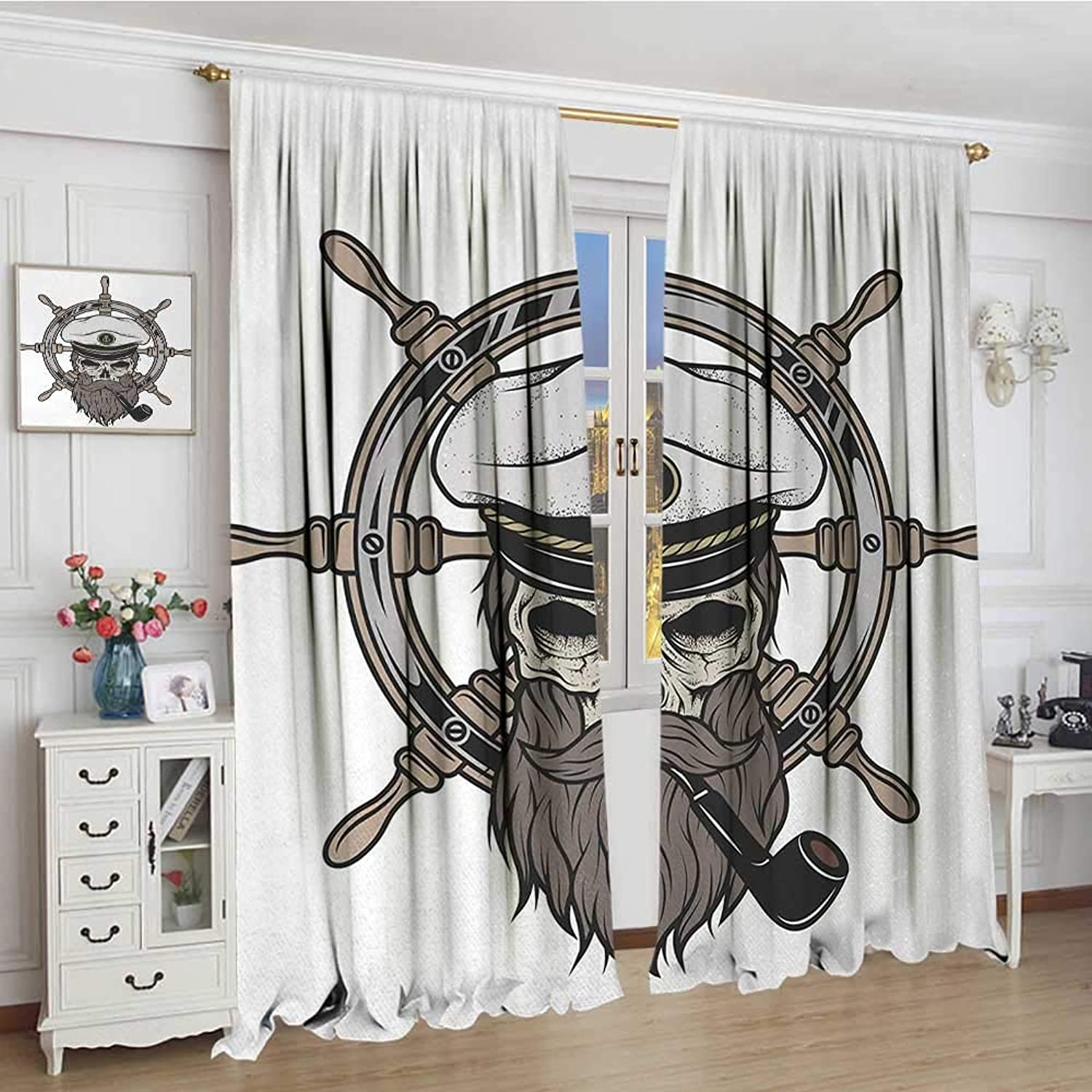 Smallbeefly Skull Blackout Window Curtain Captain Pirate Skull in Sailor Hat with Beard and Pipe Nautical Theme Print Patterned Drape for Glass Door 96 x72  Brown White Grey