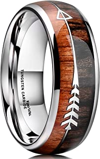 Nature 8mm Tungsten Carbide Ring Inlay with Arrow Wedding Rings Dome Edge