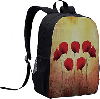 Poppy Casual Backpack,Poppies on An Old Aged Retro Featured Backdrop Design Past Days Drama Petals Artprint for College,12″L x 5″W x 17″H