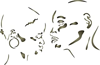 African Couple Stencil - 15 x 10 inch (L) - Reusable Africa Silhouette Man Woman Wall Stencils for Painting- Use on Paper Projects Scrapbook Journal Walls Floors Fabric Furniture Glass Wood etc.