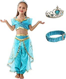 (eones style)ジャスミン衣装 子供用 アラビアン プリンセス ドレス ダンス衣装 コスチューム 4点セット (120cm)