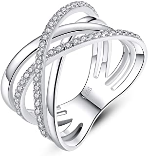 GemShadow Donne 925Sterling Silver CZ 12mm Statement Band x Criss Cross Anelli
