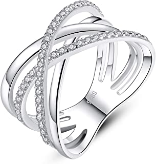 Criss Cross Rings for Women 925 Sterling Silver Wide Band Rings