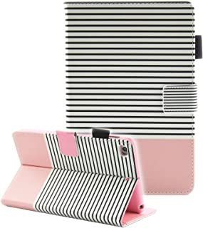iPad Mini Case, iPad Mini 2 Case, iPad Mini 3 Case, iPad Mini 4 Case, Fvimi Multi-Angle Viewing Folio Smart Leather Cover with Auto Sleep/Wake Function for Apple iPad Mini 1/2/3/4, Pink Stripe