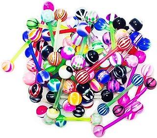 BodyJ4You 10-100PC Tongue Barbells Nipple Rings 14G Mix Acrylic Ball Steel Flexible Piercing Jewelry