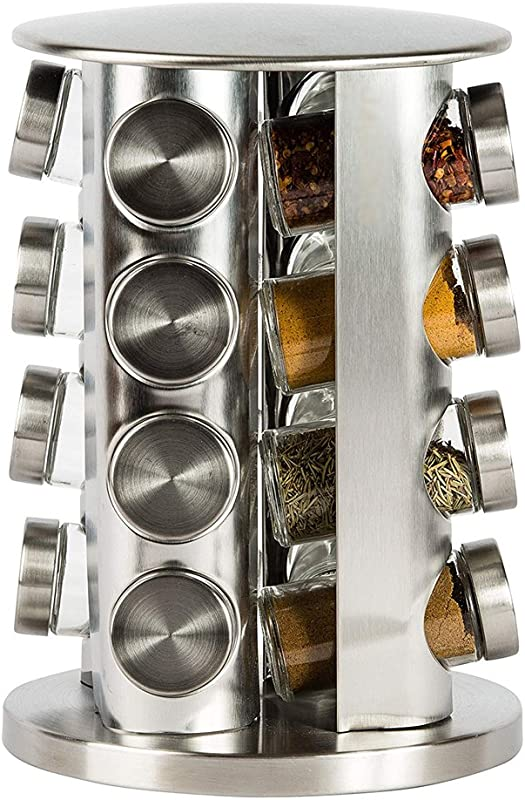 Double2C Revolving Countertop Spice Rack Stainless Steel Seasoning Storage Organization Spice Carousel Tower For Kitchen Set Of 16 Jars