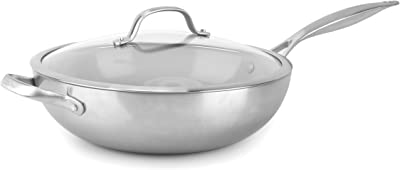 """GreenPan Venice Pro Stainless Steel Healthy Ceramic Nonstick, 12"""" with Lid, Light Gray"""