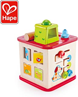 Hape Friendship Activity Cube | Pepe & Friends 5-in-1 Wooden Activity Center Colorful Five-Sided Toddler Educational Puzzle Maze Toy